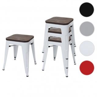 4x Hocker HWC-A73 inkl. Holz-Sitzfläche, Metallhocker Sitzhocker, Metall Industriedesign stapelbar ~ weiß