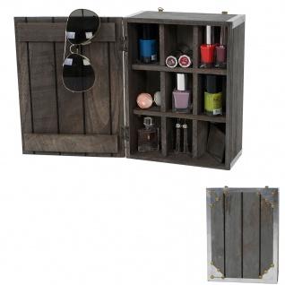 Wandschrank Aurora, Sammlerbox, Shabby-Look Vintage 25x18x10cm dunkelgrau