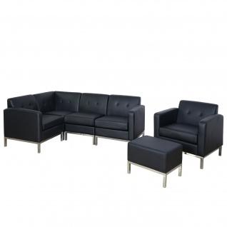 4-1 Sofagarnitur HWC-C19, Modular-Sofa Loungesofa, erweiterbar Kunstleder schwarz