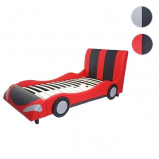 Bett HWC-E14, Auto Junge Kinderbett Jugendbett, Lattenrost Kunstleder Holz 190x100cm ~ schwarz-rot