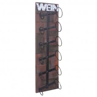 Weinregal HWC-A90, Flaschenregal Wandregal Flaschenhalter, Holz Metall für 6 Flaschen 75x20x11cm - Vorschau 3