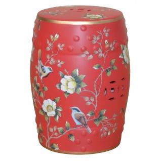 Sitzhocker H181, Hocker Beistelltisch, Keramik, 46x34x34cm rot