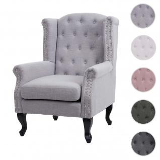 Sessel Chesterfield, Relaxsessel Clubsessel Ohrensessel, wasserabweisend Stoff/Textil ~ grau ohne Ottomane
