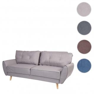 3er-Sofa HWC-J19, Couch Klappsofa Lounge-Sofa, Schlaffunktion ~ Stoff/Textil grau