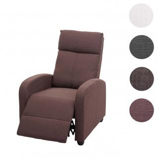 Fernsehsessel HWC-F76, Relaxsessel Sessel Liegesessel, Liegefunktion verstellbar Stoff/Textil ~ rot-braun