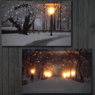 2x LED-Bild mit Beleuchtung Leinwandbild Leuchtbild Wandbild 60x40cm, Timer Winter + flackernd