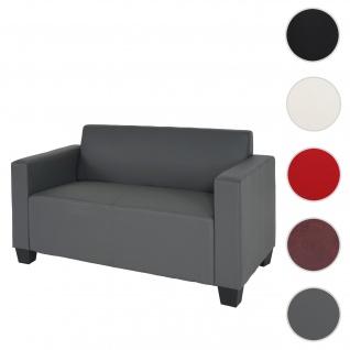 2er Sofa Couch Lyon Loungesofa Kunstleder ~ dunkelgrau