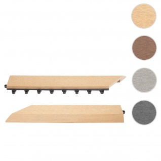 2x Abschlussleiste für WPC Bodenfliese Rhone, Abschlussprofil, Holzoptik Balkon/Terrasse ~ teak links mit Haken
