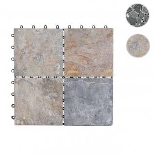 Steinfliese HWC-E18, Bodenfliese Steckfliese Balkon/Terrasse Naturstein, 11x je 30x30cm = 1m² ~ Granit bunt