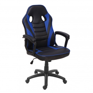 Bürostuhl HWC-F59, Schreibtischstuhl Drehstuhl Racing-Chair Gaming-Chair, Kunstleder ~ schwarz/blau - Vorschau 2