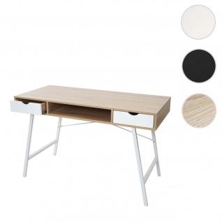 Schreibtisch HWC-E92, Bürotisch Computertisch, 3D-Struktur 120x60cm ~ naturbraun weiß