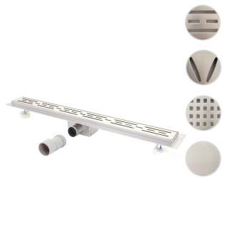 Duschrinne HWC-D94a, Bodenablauf Abflussrinne Duschablauf, Edelstahl Siphon 50-120cm ~ 120cm