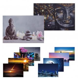 2x LED-Bild, Leinwandbild Leuchtbild Wandbild 40x60cm, Timer ~ Buddha + Kerzen