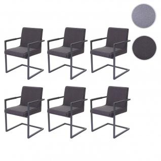 6x Esszimmerstuhl HWC-D34, Freischwinger Küchenstuhl Stuhl ~ Stoff/Textil dunkelgrau