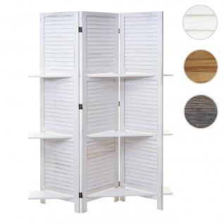 Paravent Yvelines, Trennwand Raumteiler mit Regalböden 170x125cm, Shabby Look ~ weiß/weiß