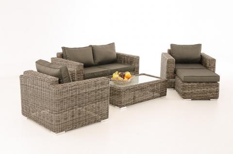 2-1-1 Gartengarnitur CP050 Sitzgruppe Lounge-Garnitur Poly-Rattan ~ Kissen anthrazit, grau-meliert
