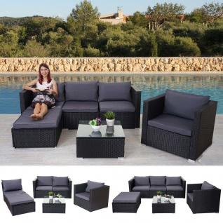 Poly-Rattan-Garnitur Brescia, Gartengarnitur Sitzgruppe Lounge-Set schwarz, Kissen anthrazit