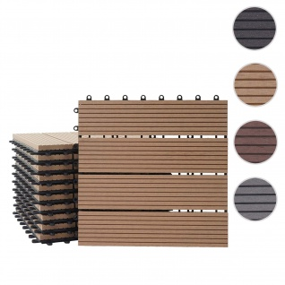 WPC Bodenfliese Rhone, Holzoptik Balkon/Terrasse, 11x je 30x30cm = 1qm ~ Premium, teak linear