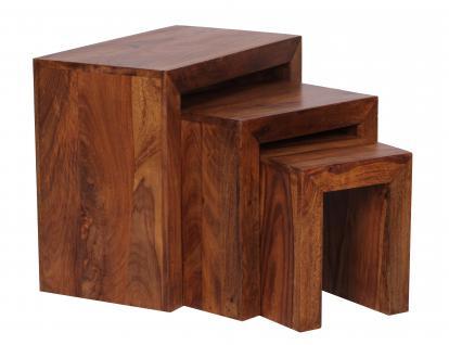 3-Satz-Tisch Malatya, Beistelltisch, Sheesham Massivholz, 50x45x30cm