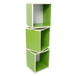 3x Modul-Würfelregal Standregal M73 120x34x29 cm grün
