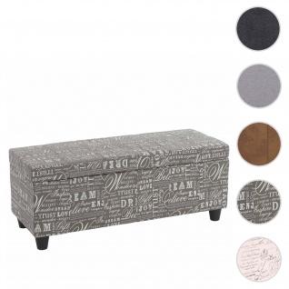 Aufbewahrungs-Truhe Kriens, Sitzbank Bank, Stoff/Textil, 45x114x45cm ~ Schriftzug, grau