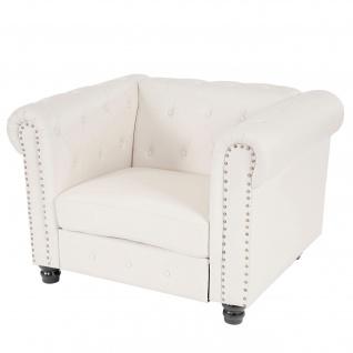 Luxus Sessel Loungesessel Relaxsessel Chesterfield Kunstleder runde Füße, weiß - Vorschau 1