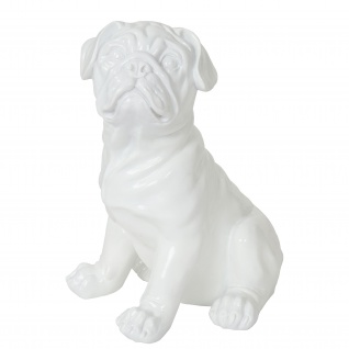 Deko Figur Bulldogge 26cm, Polyresin Skulptur Hund, In-/Outdoor weiß