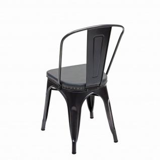 2x Esszimmerstuhl HWC-H10e, Küchenstuhl Stuhl, Chesterfield Metall Kunstleder Industrial Gastronomie ~ schwarz-grau - Vorschau 5