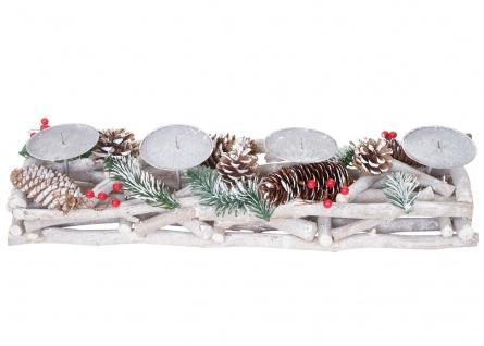 Adventskranz länglich, Weihnachtsdeko Adventsgesteck, Holz 11x15x50cm weiß-grau - Vorschau 3