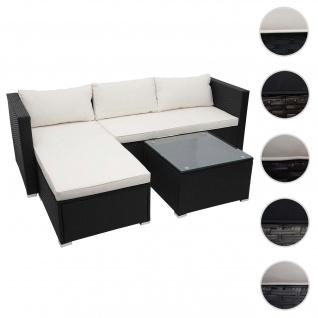 Poly-Rattan Garnitur HWC-F57, Balkon-/Garten-/Lounge-Set Sofa Sitzgruppe ~ schwarz, Kissen creme ohne Deko-Kissen