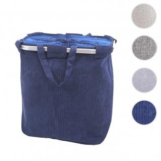 Wäschesammler HWC-C34, Laundry Wäschekorb Wäschebehälter mit Kordelzug, 2 Fächer Henkel 54x52x32cm 89l ~ cord blau