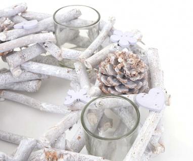 Adventskranz rund mit Teelichthaltern, Weihnachtsdeko Adventsgesteck, Holz Ø 30cm weiß-grau - Vorschau 3