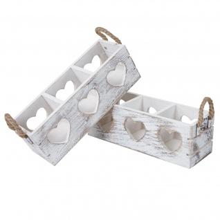2x Dekokiste HWC-C26, Aufbewahrungsbox, 2 Griffe Indoor Paulownia shabby weiß, 10x10x30cm