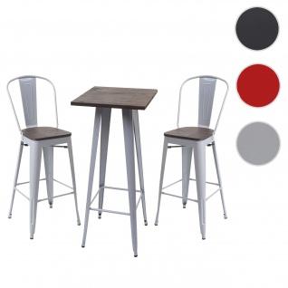 Set Stehtisch + 2x Barhocker HWC-A73 inkl. Holz-Tischplatte, Barstuhl Bartisch, Metall Industriedesign ~ grau