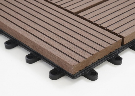 WPC Bodenfliese Rhone, Holzoptik Balkon/Terrasse, 11x je 30x30cm = 1qm ~ Premium, coffee versetzt - Vorschau 4