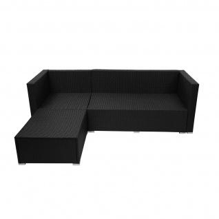 Poly-Rattan Garnitur HWC-F57, Balkon-/Garten-/Lounge-Set Sofa Sitzgruppe ~ schwarz, Kissen creme ohne Deko-Kissen - Vorschau 3