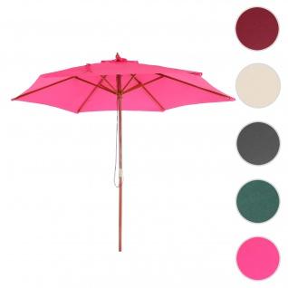 Sonnenschirm Florida, Gartenschirm Marktschirm, Ø 3m Polyester/Holz ~ pink