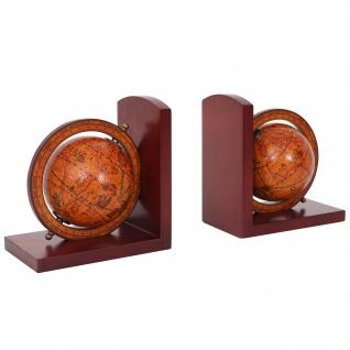 2x Buchstützen HWC-B79, Bücherstütze Globus Weltkugel, braun