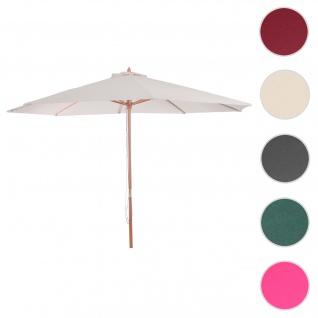 Sonnenschirm Florida, Gartenschirm Marktschirm, Ø 3m Polyester/Holz ~ creme