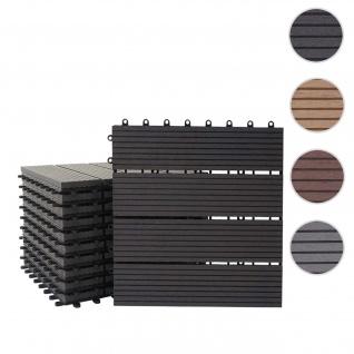 WPC Bodenfliese Rhone, Holzoptik Balkon/Terrasse, 11x je 30x30cm = 1qm ~ Premium, anthrazit linear