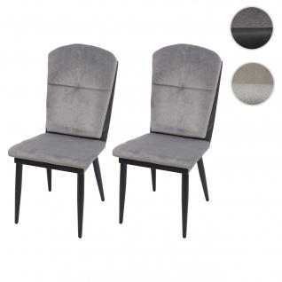 2x Esszimmerstuhl HWC-G42, Stuhl Küchenstuhl Lehnstuhl ~ Samt, grau-anthrazit