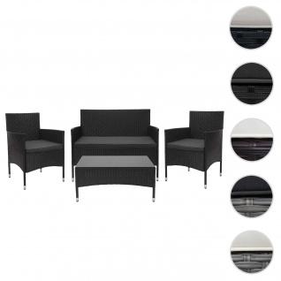 Poly-Rattan Garnitur HWC-F55, Balkon-/Garten-/Lounge-Set Sofa Sitzgruppe ~ schwarz, Kissen dunkelgrau
