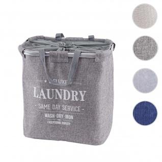 Wäschesammler HWC-C34, Laundry Wäschekorb Wäschebehälter mit Kordelzug, 2 Fächer Henkel 54x52x32cm 89l ~ grau