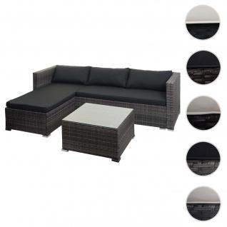Poly-Rattan Garnitur HWC-F57, Balkon-/Garten-/Lounge-Set Sofa Sitzgruppe ~ grau, Kissen dunkelgrau mit Deko-Kissen
