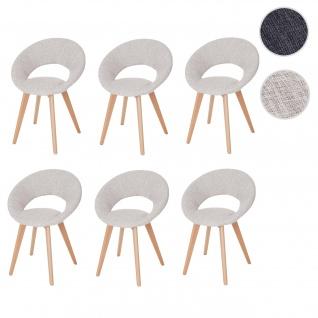 6x Esszimmerstuhl Palermo III, Stuhl Küchenstuhl, Retro 50er Jahre Design Textil, creme/grau
