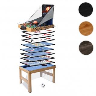 Tischkicker HWC-J16, Tischfußball Billard Hockey 20in1 Multiplayer Spieletisch, MDF 174x107x60cm ~ Eiche-Optik