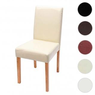 Esszimmerstuhl Littau, Küchenstuhl Stuhl, Leder ~ creme, helle Beine