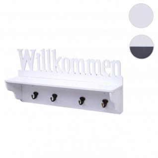 Wandgarderobe HWC-D41 Willkommen, Garderobe Regal, 4 Haken massiv 30x60x13cm ~ weiß