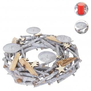 Adventskranz rund, Weihnachtsdeko Tischkranz, Holz Ø 40cm grau ~ ohne Kerzen