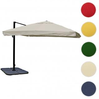 Gastronomie-Ampelschirm HWC-A96, 3x4m (Ø5m) Polyester Alu/Stahl 26kg ~ Flap, creme-grau mit Ständer, drehbar